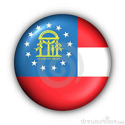 Round Button USA State Flag of Georgia