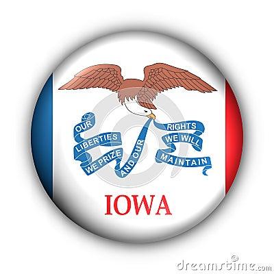 Round Button USA State Flag of Iowa