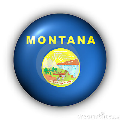 Round Button USA State Flag of Montana