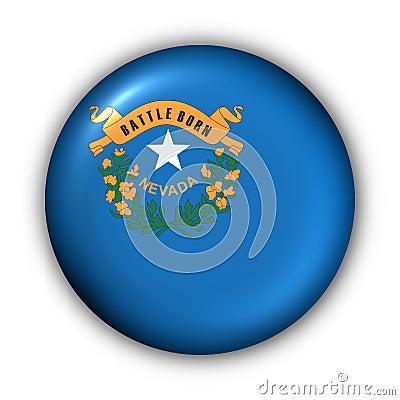 Round Button USA State Flag of Nevada