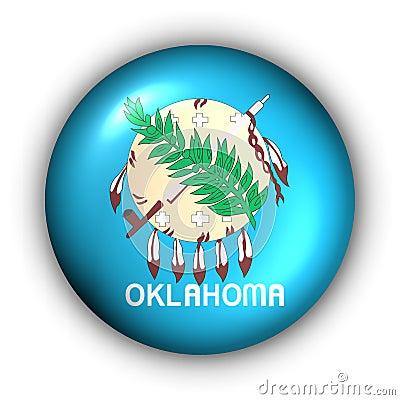 Round Button USA State Flag of Oklahoma
