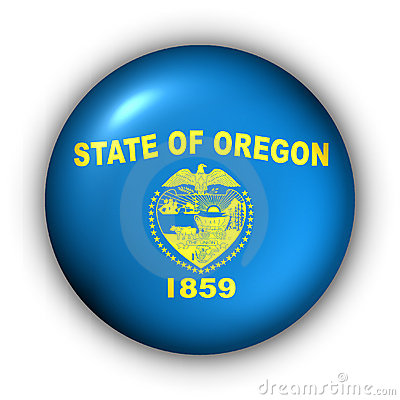 Round Button USA State Flag of Oregon
