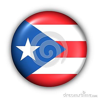 Round Button USA State Flag of Puerto Rico