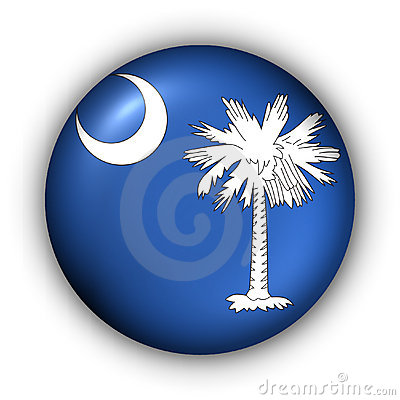 Round Button USA State Flag of South Carolina