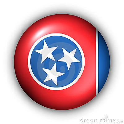 Round Button USA State Flag of Tennessee