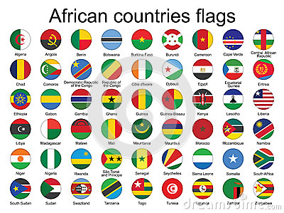 Round buttons with flags of Africa