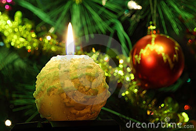 Round candle and Christmas tree ornaments