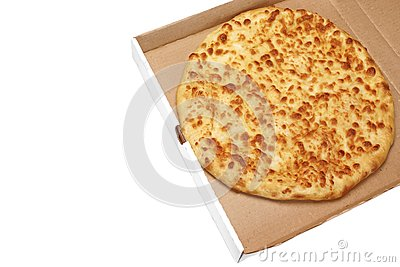 round cheese pie or pizza in white carboard box isolated stock photo image 69884879. Black Bedroom Furniture Sets. Home Design Ideas