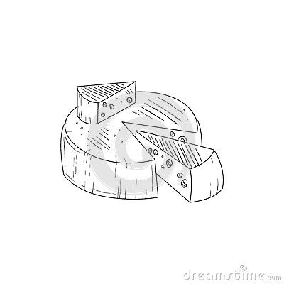 round cheese with a segment cut out hand drawn realistic