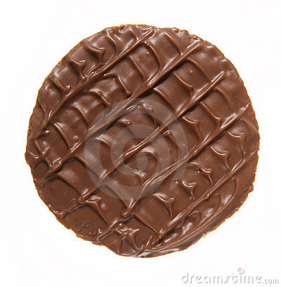 Round chocolate biscuit