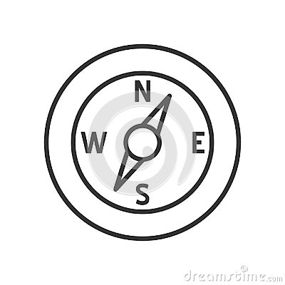 Compass Outline Flat Icon on White Vector Illustration