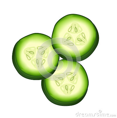 Round cucumber slices isolated on white