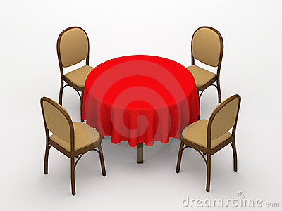 Round desktop and chairs