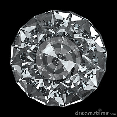 Round diamond - isolated on black background