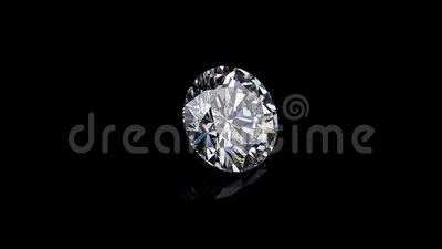 Round diamond It`s not 3D, it`s video shooting only. Diamond with real dispersion on a black background with reflection stock video footage
