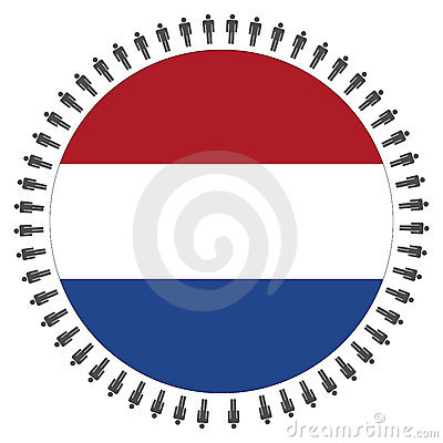 Round Dutch flag with people