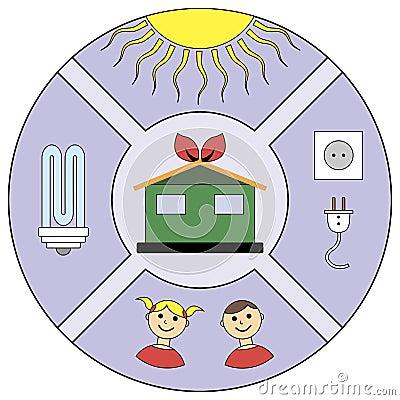 Round emblem energy savings
