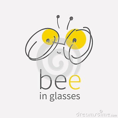 Free Round Eye Glasses Logo.Linear Hand Draw Cartoon Smiling Cute Little Bee.Kawai Bug Icon.Flat Sign.Business Internet Stock Photography - 85687442