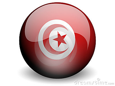 Round Flag of Tunisia