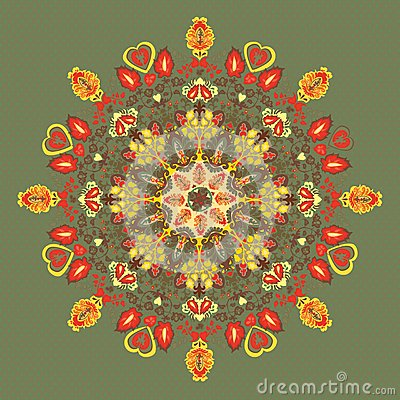 Round floral  pattern. flowers and leaves