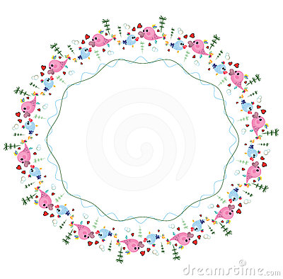 Round frame with fish.