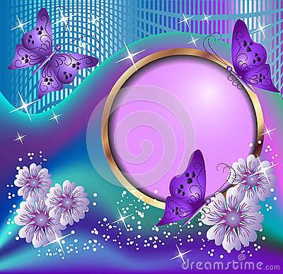Free Round Frame, Flowers And Butterflies Stock Photography - 33332932