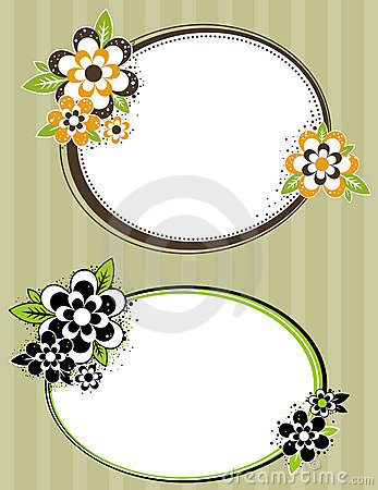 Round frame with flowers on striped background