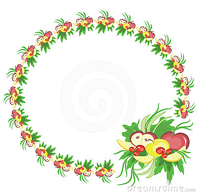 Round frame with fruits.
