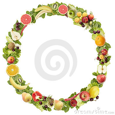 The round frame made of  fruits and vegetables