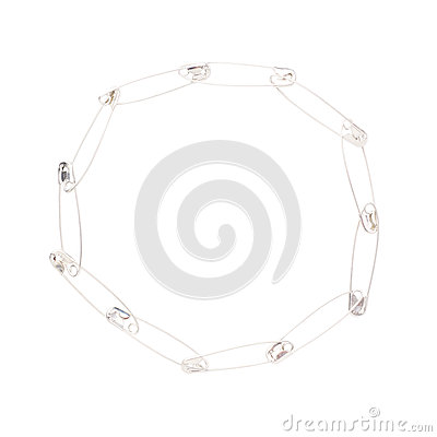 Free Round Frame Made Of Safety Pins Isolated On White Royalty Free Stock Photo - 58214575