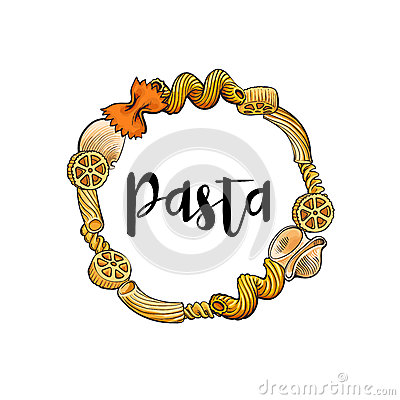 Free Round Frame Of Uncooked Italian Pasta With Place For Text Royalty Free Stock Photos - 90477468