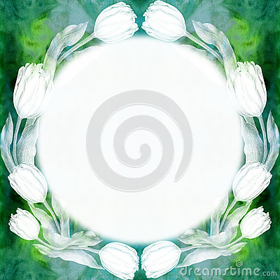 Round frame of tulip flowers. Abstract wallpaper with floral motifs. Watercolor background. Wallpaper. Stock Photo