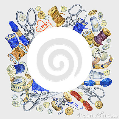 Round frame with various vintage objects for sewing, handicraft and handmade. Cartoon Illustration