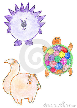 Round funny animals, hedgehog, squirrel, turtle