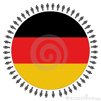 Round German flag with people