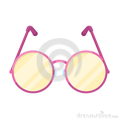 Free Round Glasses In A Pink Frame.Hippy Single Icon In Cartoon Style Rater,bitmap Symbol Stock Illustration Web. Stock Photography - 91849292