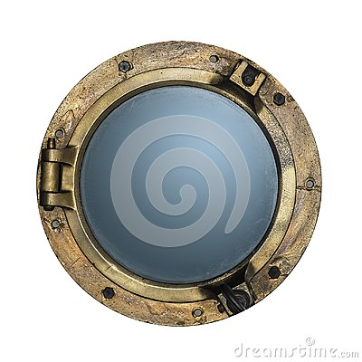Free Round Golden Boat Porthole Window Isolated On White. Royalty Free Stock Photos - 99816498