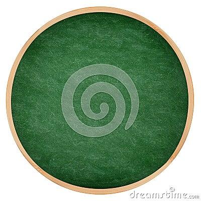 Round green chalkboard or blackboard circle