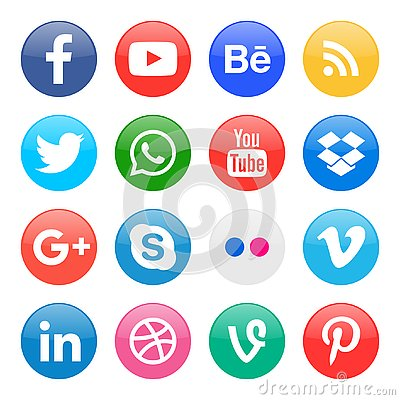 Free Round Icons For Social Media Stock Photo - 128849840