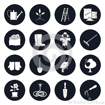 Round Icons Garden Tools and Equipment Vector Illustration