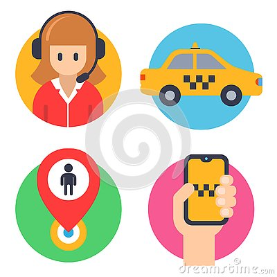 Round icons for taxis. operator, car, hand with phone, landing mark. Cartoon Illustration