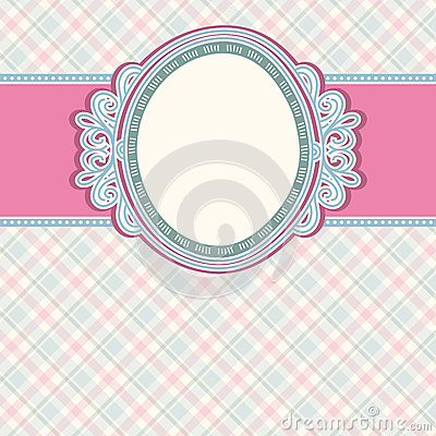 Round label on color checked background,  vector