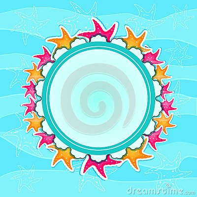 Round Label with Starfishes on Wave Background