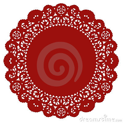 Round Lace Doily, Crimson