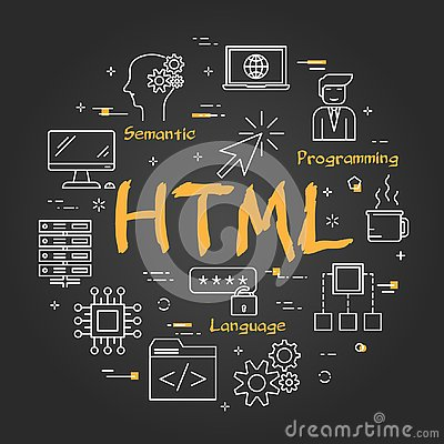 Free Round Linear Banner - HTML Concept On Black Chalkboard Royalty Free Stock Photos - 133564428