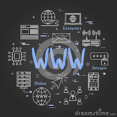 Free Round Linear Banner - WWW Internet On Black Chalkboard Stock Photography - 133564472