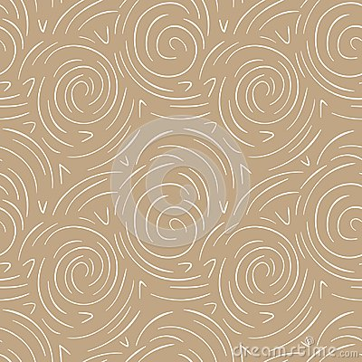 Round lines abstract vector seamless pattern. Modern gold and white background Vector Illustration