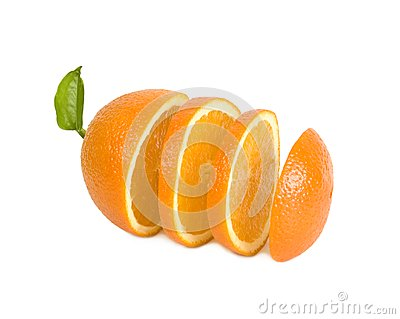 Round lobules of orange stand in one row