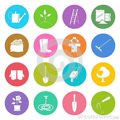 Round Multicolored Icons Gardening Equipment Vector Illustration