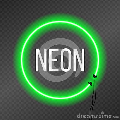 Free Round Neon Frame On Transparency Background. Royalty Free Stock Image - 123475876